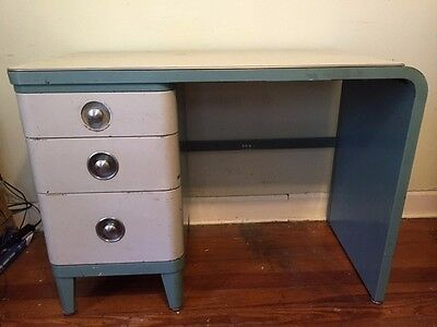 Norman Bel Geddes Art Deco Metal Desk From Simmons Furniture, Teal Blue