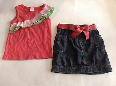 Gymboree Shirt and Skirt Summer Set, Watermelon Shirt & Blue Jean Skirt, Size 6