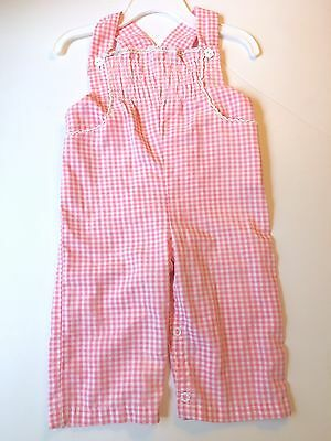 Magic years Vintage Baby Girl Pink Gingham Overalls