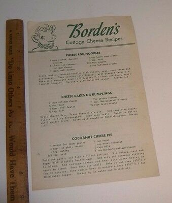 Vintage BORDEN'S COTTAGE CHEESE RECIPES