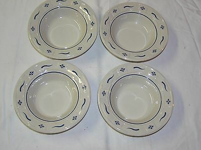 Longaberger Woven Traditions Pottery 4 Classic Blue Berry/Small Dessert Bowls