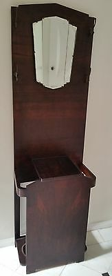 Antique Timber Coat, Hat And Umbrella Stand With Art Deco Mirror - Walnut Colour