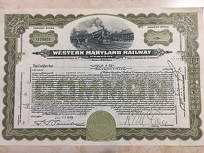 1949 Western Maryland Railway Stock Certificate