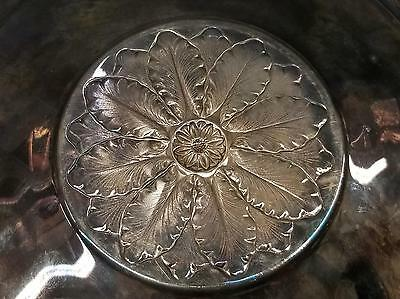 W&S Blackinton 10.5 Silverplate Serving Tray Large Embossed Flower Center Nice!