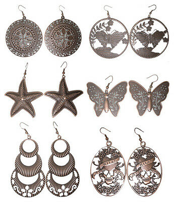 wc025 wholesale lots 6 pairs antique-copper fashion cute dangle earrings jewelry