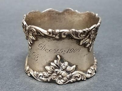 Antique Gorham Sterling Silver Napkin Ring Dec.25 Christmas 1904 Buttercup 38g