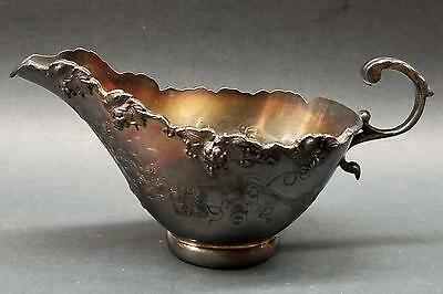 """7"""" Victorian Silverplate Sauce/Gravy Boat Hand Chased Grapes Quadruple Rogers?"""