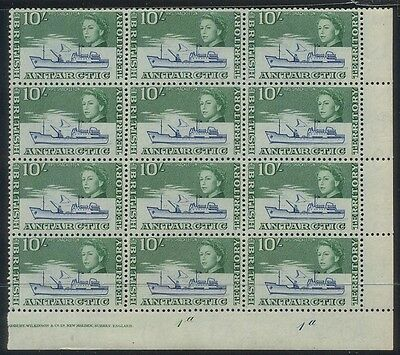 British Antarctic Territory 10/- 1963 Marginal Block of 12, MUH