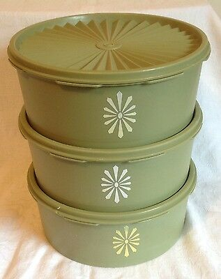 3 Tupperware Avocado Green - Press & Seal  Servalier  Biscuit / Cake  Canisters