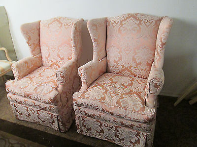 57986   Pair QUALITY Wing Chairs with Goose Down cushions