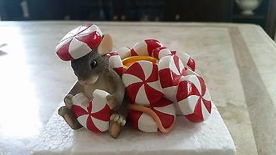 CHARMING TAILS CANDY CANE CANDLE HOLDER Mouse PEPPERMINTS