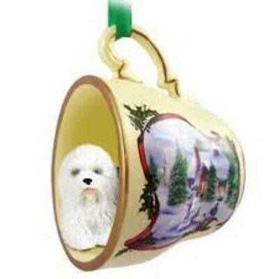 """Victorian Trading Co 2"""" Teacup Ornament w/ Winter Scene Old English Sheepdog"""