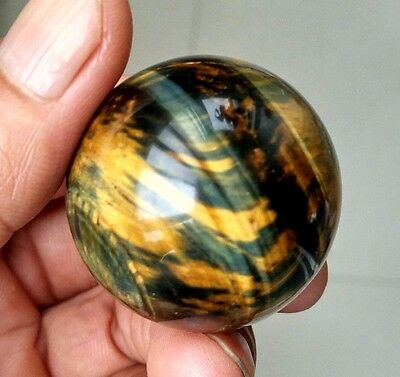 70.8g 37mm Natural Blue and Yellow Tiger's Eye Crystal Sphere Ball Healing P0819