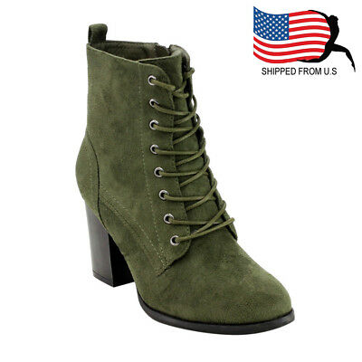 DAHLIA-08-BS-SL Women's Olive Green Size 6.5 Faux Suede Ankle Boots Shoes