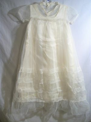 Vintage 2 Pc infant Baby dress Christening gown with shoes