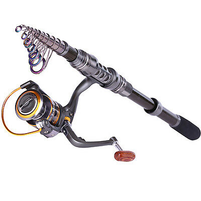 Carbon Telescopic Spinning Fishing Pole and Reel Combos Set Sea Fishing Tackles