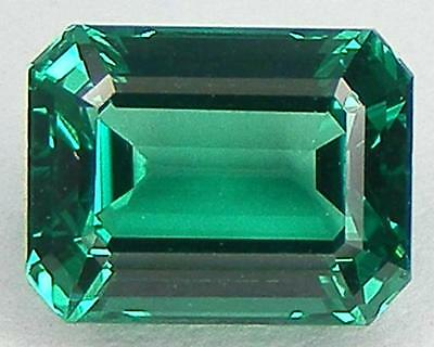EXCELLENT CUT ASSCHER 9x7 MM. LAB CREATED NANOCRYSTAL EMERALD