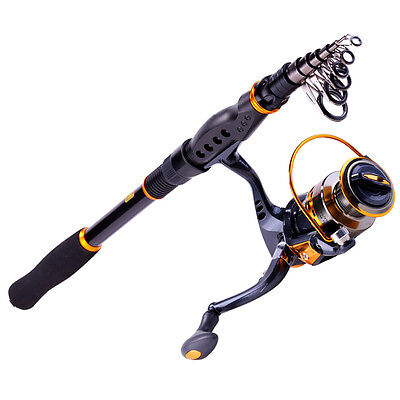 Carbon Travel Fishing Rod and Reel Combos Set Portable Spinning Fishing Pole Kit