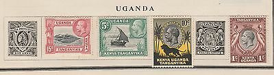UGANDA COLLECTION Mount Kilimanjaro, Dhow, etc on old pages, as per scan  #