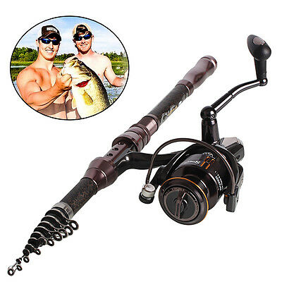 Rock Telescopic Fishing Rod and Spinning Fishing Reel Combo Fishing Pole Set