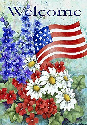 Toland - Patriotic Welcome - Decorative America Red White Flower Floral Blue US