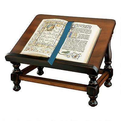 Wood Book Easel Hardwood Antiquarian Antique Replica Book Holder Shelf Brown