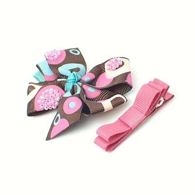 2Pc BABY GIRLS SMALL HAIR BOW CLIPS PINK BOW HAIR CLIP LITTLE GIRLS BABIES CLIPS