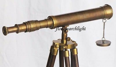 Nautical Collectible Solid Brass Single Barrel Telescope With Tripod Stand