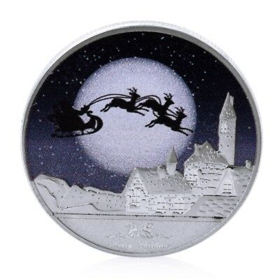 Silver Merry Christmas And Happy New Year Commemorative Challenge Coins Souvenir