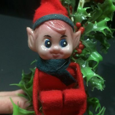 Vtg Christmas Elf Knee Hugger Pixie Lamppost Candle Holly Plastic
