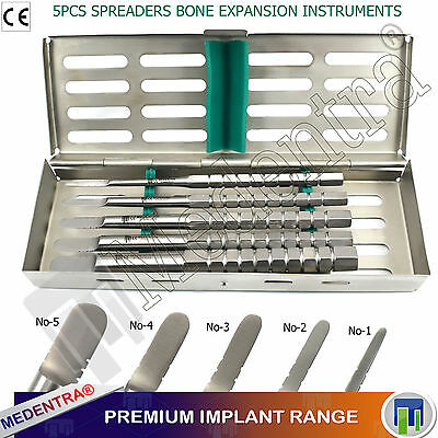 X5 Bone Spreading 'D' Shaped Spreaders Dental Implant Expansion Instruments+Tray