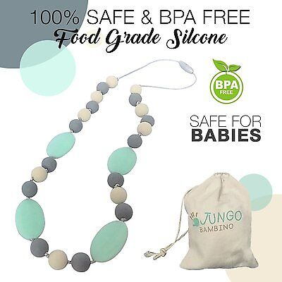 JUNGO BAMBINO Teething Silicon Necklace Chewlery Chewbeads Teether. BPA Free