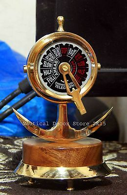 Vintage Ship Engine Order Telegraph, Solid brass Anchor Design Wooden Base