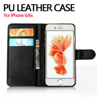 For Apple iPhone 6S 6 Genuine Flip Wallet Leather Case Cover (B07