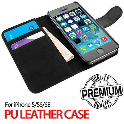 For Apple iPhone 5S SE Genuine Flip Wallet Leather Case Cover (B11