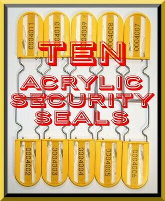 Acrylic Security Seals, Padlock-Style, Large-Shackle, Yellow, 100 Quality Seals