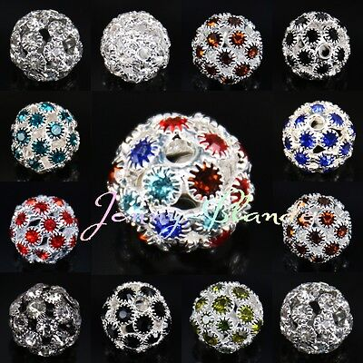 1/510Pcs Czech Rhinestone Crystal Glass Loose Spacer Beads Jewelery Finding 14mm