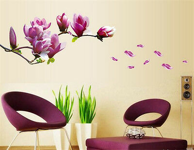 Magnolia Flower Home Decor Removable Wall Sticker Decal Decoration Vinyl Mural