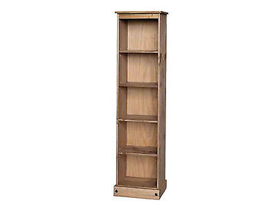 Premium Quality Corona Tall Narrow Bookcase Display | Waxed Solid Mexican Pine
