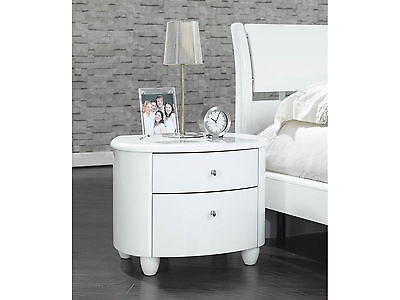 Birlea Aztec 2 Drawer Nightstand Bedside Cabinet - White Gloss Lacquer