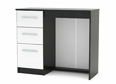 Birlea Lynx Dressing Table with 3 Drawers - Black & White Gloss