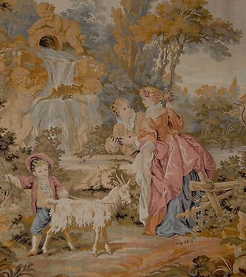 """Large Antique / vintage French Wall Hanging Tapestry Pastorale Scene JP 61""""x 28"""""""