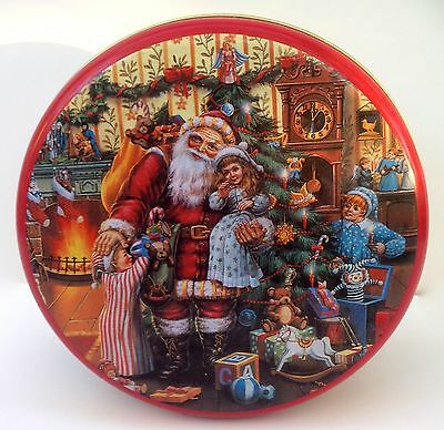 Collectable Vintage Biscuit Cake Tin Christmas Santa