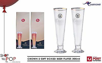 Crown Lager 2 Boxed Beer Flutes gold rim Limited edition BNIB 250ml MAN CAVE