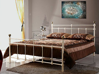 Birlea Atlas Bed - Cream Metal Bed with Brass Finials 4ft6 Double - Shabby Chic