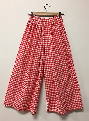 Fabulous VTG 1970s Red Picnic Checkered Wide Leg Pants, Cotton, Head Wrap