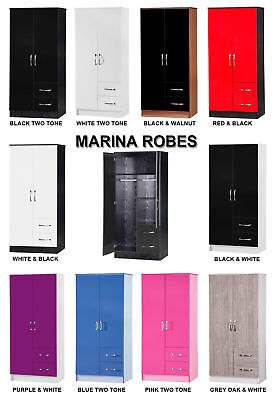 Marina High Gloss Combi Wardrobe 2 Door 2 Drawer - Gloss Bedroom Furniture