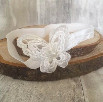 Baby White Christening Headband Lace Baptism Wedding Girl Pearl Butterfly
