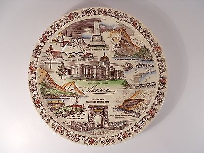 Vtg MONTANA SOUVENIR COLLECTOR PLATE Helena Custer Great Falls Yellowstone Butte