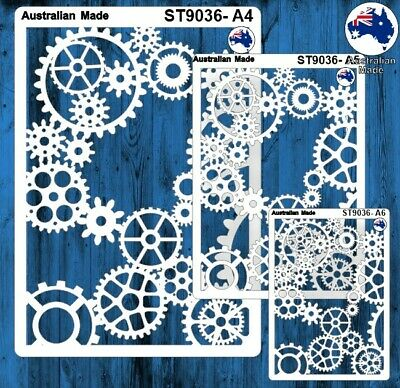 Stencils, Masks for Scrapooking, Cardmaking - ST9036 Gears, A4, A5, A6